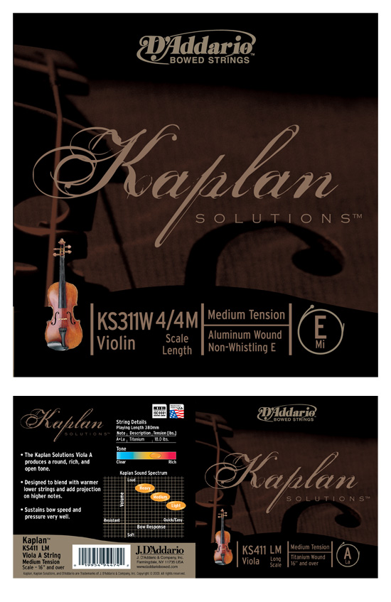 "D'Addario Bowed ""Kaplan"" Strings → Package Design → more…"