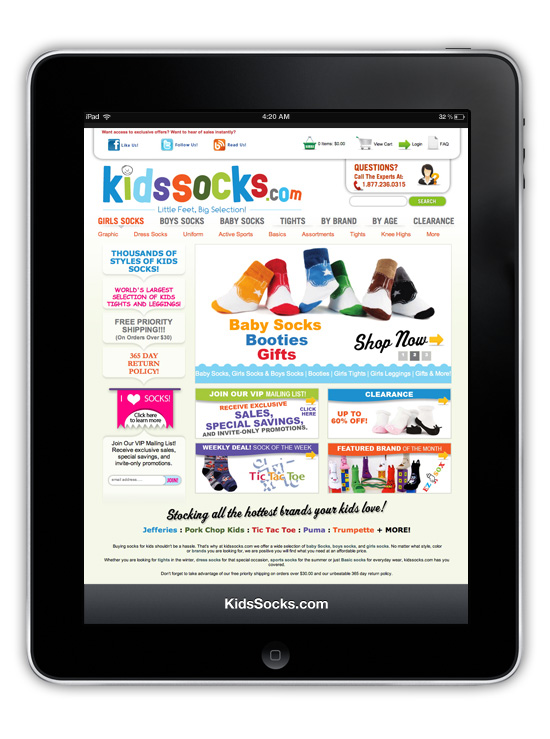 KidsSocks.com → Website Design → more…