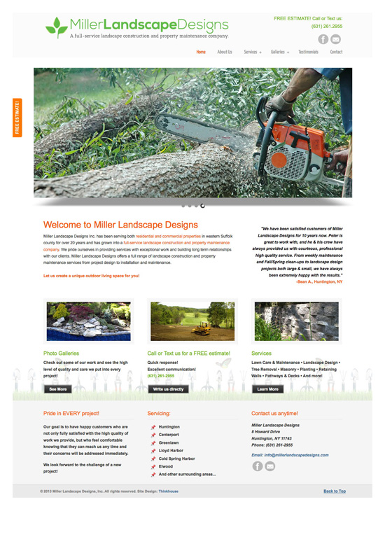 Miller Landscape Design → Website Design & Development → more…